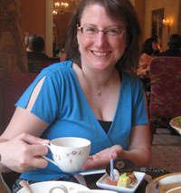 Heather Reisz enjoying high tea